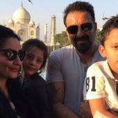 Sanjay Dutt visits the Taj Mahal in Agra with wife Maanayata and kids