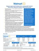 Walmart reports Q2 FY17 EPS of $1.21, adjusted EPS1 of $1.07, Raises full-year adjusted EPS1 guidance range to $4.15 to $4.35