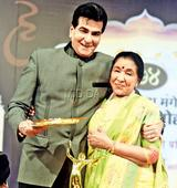 Spotted: Asha Bhosle and Jeetendra at an awards event in Mumbai