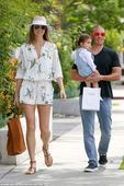 Stacy Keibler wears floral playsuit during a family outing to Bel Bambini