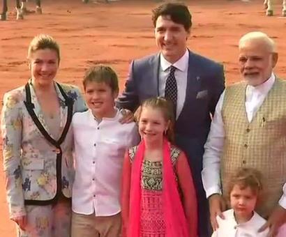 PM Modi meets Trudeau family at Rashtrapati Bhavan