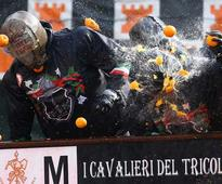 In Pics: Battle of oranges has Italian town 'juiced'