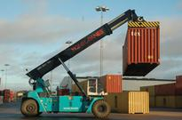 Hybrid reach stacker for container handling
