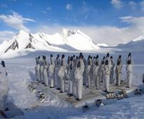 Army personnel perform Yoga in world's highest battlefield Siachen