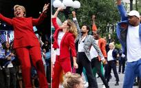 Watch: When Hillary Clinton's iconic pantsuits inspired a delightful flash mob!