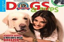 Jennifer Winget and her dog Breezer on the cover photo of a magazine