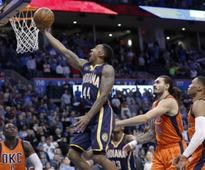 NBA roundup: Jeff Teague lifts Pacers to victory against Thunder; Knicks beat Hawks