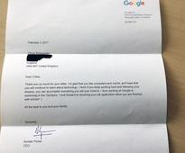 Girl, 7, 'over the moon' as Google chief replies to job application