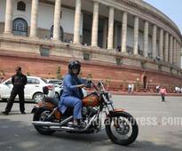 Pappu Yadav's wife MP Ranjit Ranjan rides Harley Davidson to Parliament on Women's Day