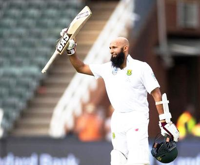 'Grateful' Amla bags century in 100th Test as S Africa take control
