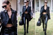 Whoa, Bella! Hadid shows off her incredible body in leather