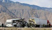 Twelve passengers, driver killed as tour bus slams into truck on California highway