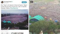 Did Lalu Prasad Yadav just use a photoshopped image of Gandhi Maidan in Patna?