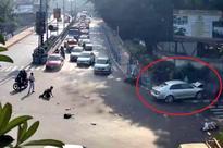 VW Jetta driver jumps red traffic signal, 2 bikers, 1 girl dead  Video