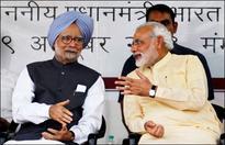 PM Modi walks up to Manmohan Singh in Rajya Sabha, shakes hands