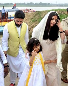 Aishwarya, Abhishek visit Allahabad to immerse her father's ashes