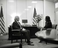 Mike Pence Meets with Condoleezza Rice
