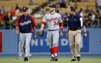 Bryce Harper out of the Nationals lineup with swelling in knee
