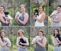 Bride And Her Bridesmaid Ditched Bouquets For Puppies In Need Of Homes