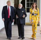 Melania's sunny floral dress perfect contrast to Modi-Trump terror talk