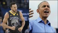Golden State Warriors' Steph Curry joins hands with Barack Obama for PSA