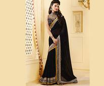 Black Faux Georgette Jacquard Saree with Blouse