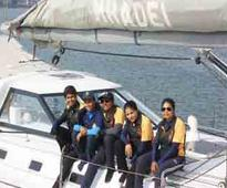 Indian navy ship with all-women crew docks in Port Louis