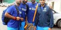 Team India cricketers before leaving for the west Indies test series