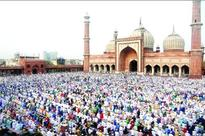 Muslim devotees offering Namaz at Jama Masjid on the occasion of Eid-ul-Fitr festival in New Delhi