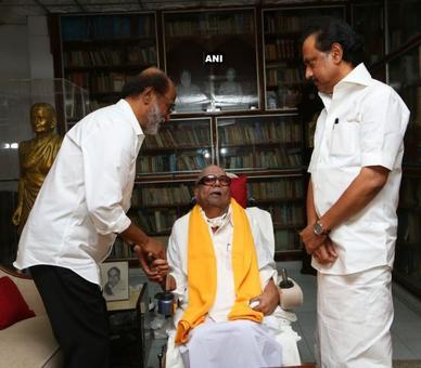 Rajinikanth meets DMK patriarch Karunanidhi, days after turning neta