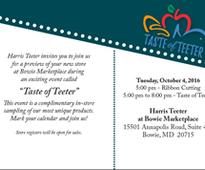 Grand Opening of Harris Teeter Store in Bowie, Md. September 19, 2016Company to Celebrate Grand Opening with Sampling Event
