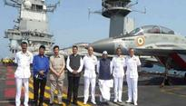 Devendra Fadnavis witnesses naval exercises in Arabian Sea