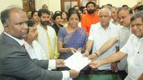 Nirmala Sitharaman files nomination papers for Rajya Sabha