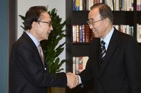 Ban meets with Lee Myung-bak to rally conservatives