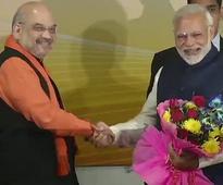 Modi-Shah begin victory celebrations at BJP HQ