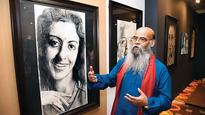 Art exhibition showing portraits of eyes at IGNCA