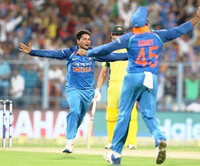 PHOTOS: Kuldeep 'tricks' as India down Aus by 50 runs, lead series 2-0