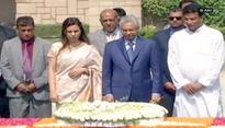 Mauritius PM given ceremonial welcome, visits Rajghat