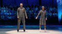 The wife of one of Vladimir Putin's spokesmen has performed a Holocaust-themed ice skating routine