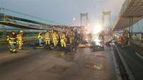RV Full of Odd Lollipops Burns on Interstate Bridge