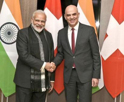 Modi meets Swiss President Alain Berset in Davos