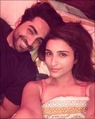Parineeti Chopra and Ayushmann Khurranna sneak in a selfie on Meri Pyaari Bindu sets