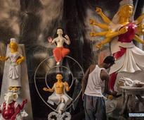 Clay idols of Goddess Durga seen in Kolkata, India