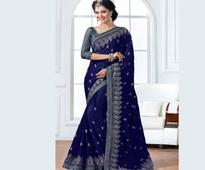 Embroidered Chiffon Saree in Dark Blue