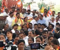 Bengaluru: BJP stages protest opposing FIR against Yeddy in land denotifications