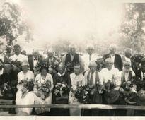 Historical photographs show early Polish settlers of Bandera,...