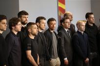 Winning for Cruyff motivates Barca: Iniesta FC Barcelona's players Marc Bartra (L-R), Sergi Roberto, Gerard Pique, J...