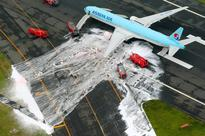 Korean Air jet went 700 meters down runway after engine caught fire at Haneda