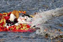 Idol of goddess Kali immersed in river Ganga