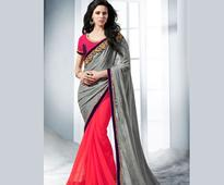 Grey And Fuschia Designer Saree